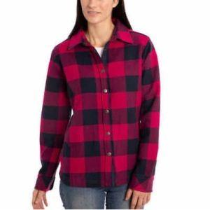 Orvis Fleece Lined Shirt Jacket Magenta Blue Med